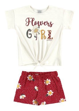 conjunto blusa e short infantil feminino flowers offwhite alakazoo 16023