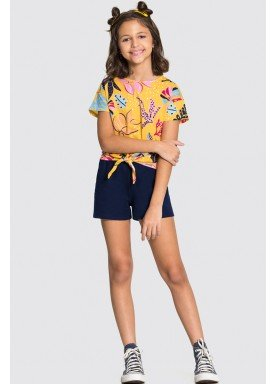 conjunto blusa e short infantil feminino folhagens amarelo alakazoo 16025 1