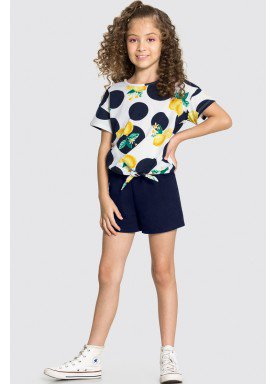 conjunto blusa e short infantil feminino lemons branco alakazoo 16068 1