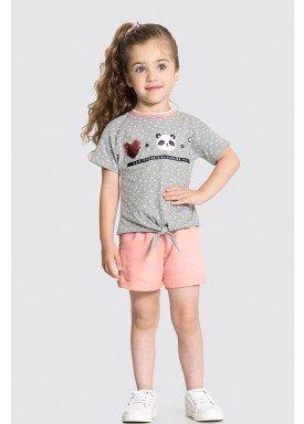 conjunto blusa e short infantil feminino panda mescla alakazoo 31486 1