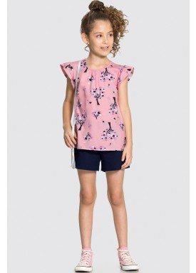 conjunto blusa e short infantil feminino trees rosa alakazoo 16027 1