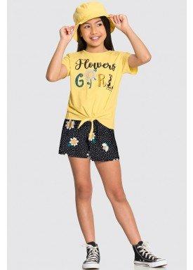 conjunto blusa e short infantil juvenil feminino flowers amarelo alakazoo 16023 1