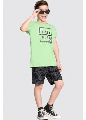 conjunto camiseta e bermuda infantil juvenil masculino trex verde alakazoo 16052 1
