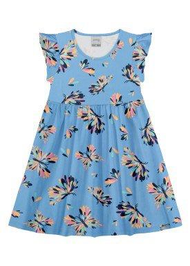 vestido meia malha infantil feminino borboletas azul alakazoo 11357