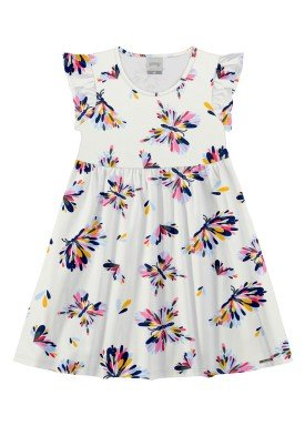 vestido meia malha infantil feminino borboletas offwhite alakazoo 11357