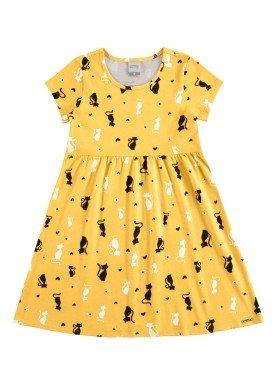 vestido meia malha infantil feminino cats amarelo alakazoo 11217