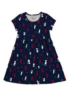 vestido meia malha infantil feminino cats marinho alakazoo 11217
