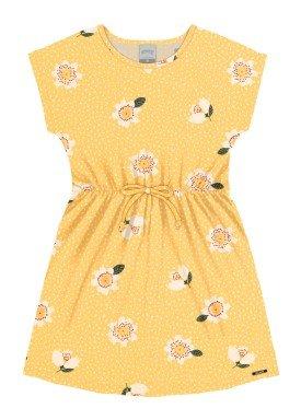 vestido meia malha infantil feminino flores amarelo alakazoo 16022