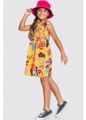 vestido meia malha infantil feminino folhagens amarelo alakazoo 11218 1