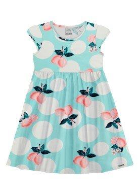 vestido meia malha infantil feminino lemons azul alakazoo 16026