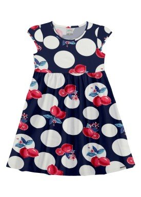 vestido meia malha infantil feminino lemons marinho alakazoo 16026
