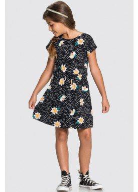 vestido meia malha infantil juvenil feminino flores preto alakazoo 16022 1