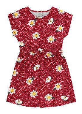 vestido meia malha infantil juvenil feminino flores vermelho alakazoo 16022