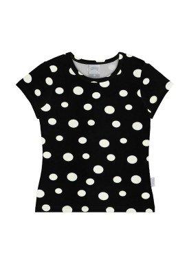 blusa cotton infantil juvenil feminino bolinhas preto alakazoo 31582