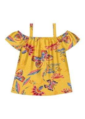 blusa meia malha infantil feminina butterflies amarelo alakazoo 31722