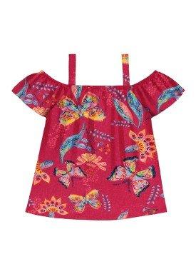 blusa meia malha infantil feminina butterflies rosa alakazoo 31722