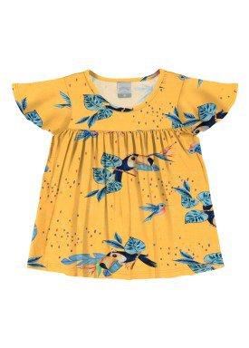 blusa meia malha infantil feminina passaros amarelo alakazoo 31780
