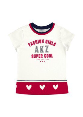 blusa meia malha infantil feminino super cool offwhite alakazoo 31586