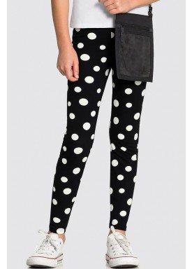 calca legging cotton infantil feminina bolinhas preto alakazoo 31723 1