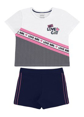 conjunto blusa e short infantil feminino love cat branco alakazoo 31748