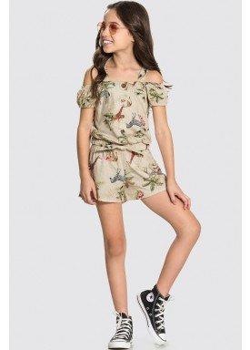conjunto blusa e short infantil feminino nature bege alakazoo 31749 1