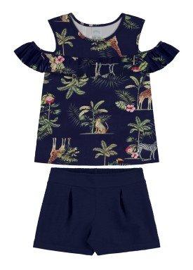 conjunto blusa e short infantil feminino nature marinho alakazoo 31589