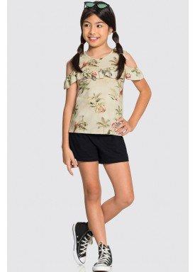 conjunto blusa e short infantil juvenil feminino nature bege alakazoo 31589 1