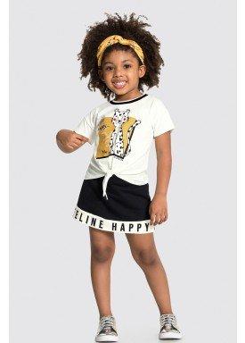 conjunto blusa e short saia infantil feminino feline offwhite alakazoo 31495 1