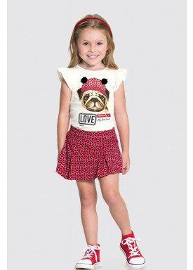 conjunto blusa e short saia infantil feminino love vermelho alakazoo 31494 1