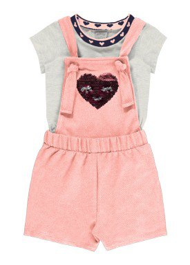conjunto macaquinho e blusa infantil feminino heart mescla alakazoo 31784