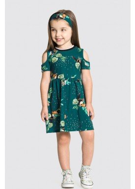 vestido com faixa cabelo infantil feminino tucanos azul alakazoo 31798 1
