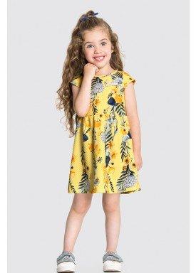 vestido malha favo infantil feminino floral amarelo alakazoo 31791 1
