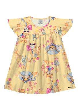 vestido malha lightness infantil feminino oceano amarelo alakazoo 31793