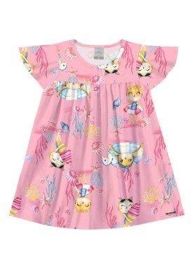 vestido malha lightness infantil feminino oceano rosa alakazoo 31793