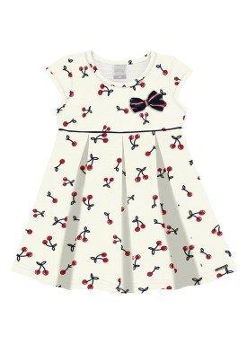 vestido malha nikko infantil feminino cherries offwhite alakazoo 31790
