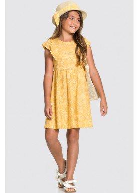 vestido malha nikko infantil feminino flores amarelo alakazoo 31729 1