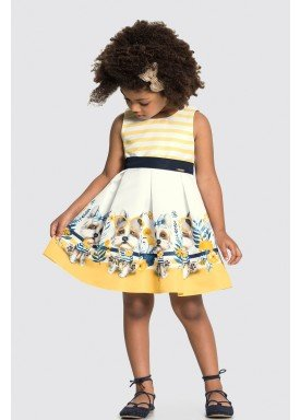 vestido tecido fidji infantil feminino dogs amarelo alakazoo 31792 1