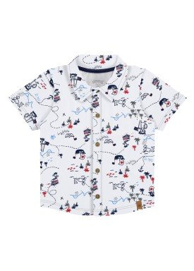 camisa meia malha bebe masculina piratas branco alakazoo 33103