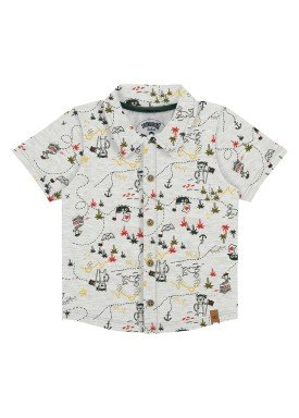 camisa meia malha bebe masculina piratas mescla alakazoo 33103