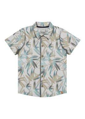 camisa meia malha infantil masculina tropical bege alakazoo 33984