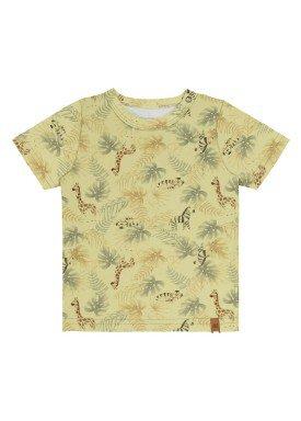 camiseta meia malha bebe masculina safari amarelo alakazoo 33102