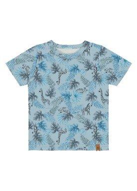 camiseta meia malha bebe masculina safari azul alakazoo 33102