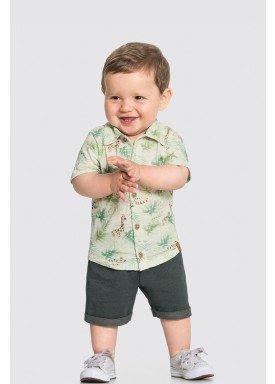 conjunto camisa e bermuda bebe masculino safari offwhite alakazoo 33106 1