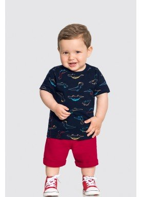conjunto camiseta e bermuda bebe masculino dinossauros marinho alakazoo 33111 1