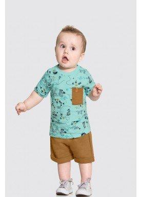conjunto camiseta e bermuda bebe masculino piratas verde alakazoo 33108 1