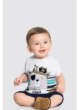 conjunto camiseta e bermuda bebe masculino piratinha branco alakazoo 33107 1