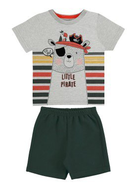 conjunto camiseta e bermuda bebe masculino piratinha mescla alakazoo 33107