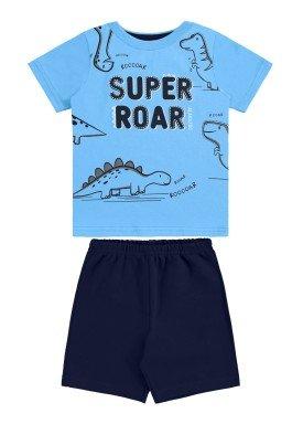 conjunto camiseta e bermuda bebe masculino super roar azul alakazoo 33110