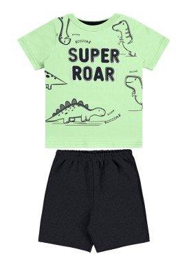 conjunto camiseta e bermuda bebe masculino super roar verde alakazoo 33110