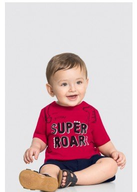 conjunto camiseta e bermuda bebe masculino super roar vermelho alakazoo 33110 1